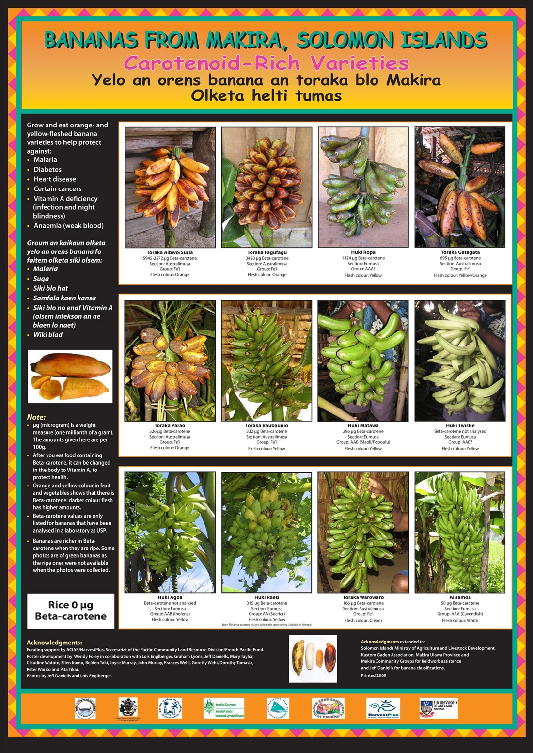 Poster of vitamin A-rich bananas of the Solomon Islands.